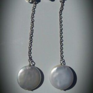 Coin Pearl Sterling Silver Earrings NWT